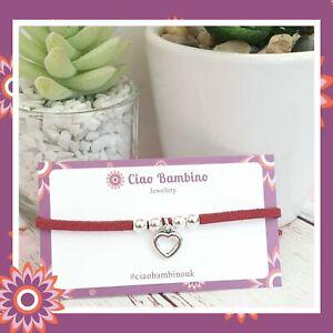 Red Heart Bracelet Suede Valentines Day Present Gift Love Valentine Girlfriend
