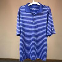 NIKE GOLF Dri Fit Men's L BLUE Short Sleeve Striped Polo Shirt Size L