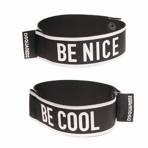 RRP €290 DSQUARED2 Wide Cuff Bracelet Glued 'BE COOL' & 'BE NICE' Made in Italy