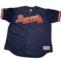 Vintage 90s Majestic Mens Size XL Atlanta Braves Stitch Baseball Jersey Usa Made