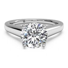 2 Carat Round Cut D VS2 Lab Diamond Solitaire Engagement Ring 14k White Gold