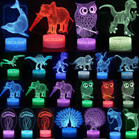 3D LED illusion Animals USB 7Color table Night Light Touch Lamp Bedroom Decor US
