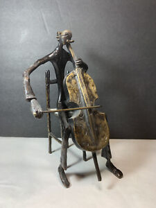 Vintage Brass Cello Player Statue Brutalist Metal Heavy Musician Music Figure