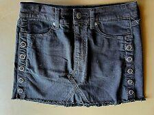 American Eagle Jean Skirt Stretch Black Frayed Edge Size 2 NEW