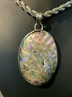 Vintage Sterling Silver Large Oval Genuine Abalone Shell Pendant 2 5/8""