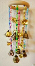 Wooden Circle Hanging WINDCHIMES, 20! BRASS BELLS, & 4- 20mm Crystal Ball Prisms