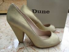 New DUNE Ladies Gold/Champagne Leather Peep Toe, Cone Heels Court Party Shoes 4