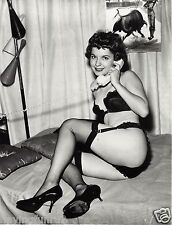 60s Pinup in black bra panties and stockings on the phone 8 x 10 Photograph