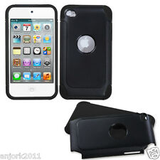 Apple iPod Touch 4 FROSTY FUSION HYBRID CASE SKIN COVER ACCESSORY BLACK