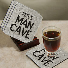 "Personalized ""Man Cave"" Wood Drink Coasters with Holder - Fun Gift Coaster Set"