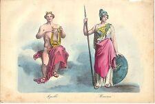 1858 APOLLO MINERVA mitologia romana Roma litografia colore coevo
