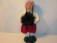 Byers Choice Retired 1995 Traditional Girl with Red Herring Bone Skirt and Muff