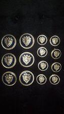 WATERBURY Men Metal BLAZER/JACKET BUTTON SET Crest DB 6&8 Gold/Navy Enamel/Epoxy