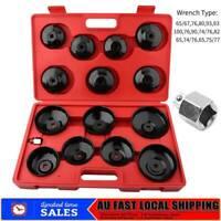 15PCS Universal Oil Filter Wrench Set Metal Cap Socket Removal Tool Kit AU STOCK