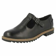 Clarks 'Griffin Monty' Ladies Black Leather T-Bar Buckle Fastened Casual Shoes.