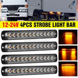 4x 12 LED Strobe Light Bar Car Truck Hazard Beacon Flash Warning Emergency Amber