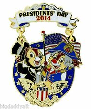 New Disney WDW Presidents Day 2014 Chip & Dale Pin LE 1500 Lincoln Washington