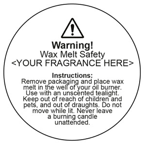 Wax melt usage safety stickers with custom fragrance