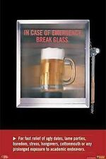 Dorm Poster~Emergency Just In Case Break the Glass Mug of Beer Drunk Humor Print