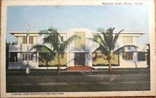 Miami Beach, FL 1940s Art Deco Linen Postcard: Biscayne Arms Apartments- Florida