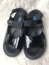 Wolky Black Patent Double Strap Adjustable Comfort Platform Sandals size 40
