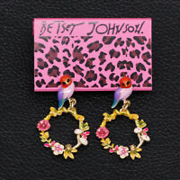 Colorful Enamel Flower Wreath Bird Earbob Betsey Johnson Dangle Earrings Gift