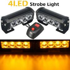 4-LED 12V Car Amber Strobe Flash Grille Light Warning Hazard Emergency Lamp US