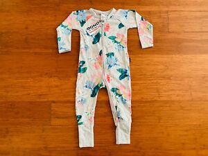Bonds Baby Grey Pink Blue Green Lily Floral Zip Wondersuit Size 1 BNWT 2017