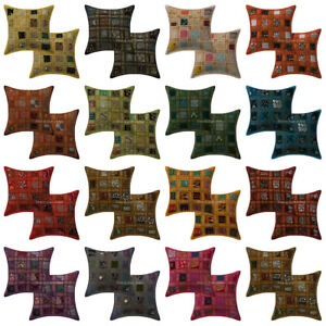 Indian Patchwork Embroidered Cushion Cover Handmade Cotton Pillow Case Cover 2pc