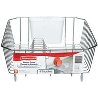 Rubbermaid 6008-AR-CHROM Microban Coated Wire Dish Drainer, Small, Chrome