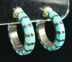 STERLING SILVER Stunning Hoop Earrings BLUE TURQUOISE STRIPED INLAY Southwestern
