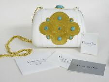 CHRISTIAN DIOR MINAUDIERE AUTRUCHE GOLD EMBROIDERY TURQUOISE EVENING HANDBAG NWT
