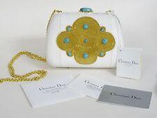 Christian Dior Minaudiere autruche Gold Stickerei türkis Abend Handtasche Nwt