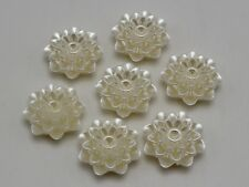 25 Ivory Acrylic Pearl FlatBack Flower Cabochons 20mm 2-Hole Sew on Beads