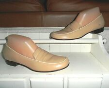 NEW* Sz 8N COLE HAAN;Camel Tan Leather w White Contrast Edging Loafer Shoes $165