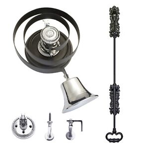 Butlers Bell - Black Iron Pull + CHROME   With Wood Plinth - FULL KIT