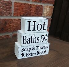 Hot Baths Soap Towels solid pine cubes bathroom shabby & chic shelf sitters