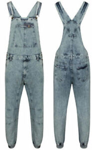 New Men's Denim Acid Wash Full Length Dungarees Jeans Mid Bib Overalls 30 TO 42