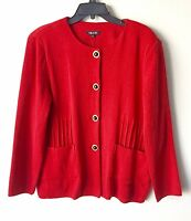NWT $398 MISOOK BUTTON FRONT RED KNIT LONG SLEEVE FRONT PATCH POCKETS JACKET