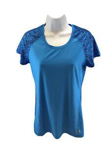 Under Armour Women's Blue Short Sleeve Fitted Heatgear Activewear Shirt S