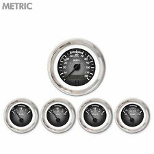 5 Gauge Kit Metric Power Gray Black M Needles Chrome Bezel Cluster Instrument