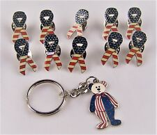 Patriotic Flag Stars & Stripes Pins Red White Blue America Bear Keychain Rally