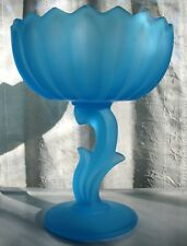 Indiana Glass Satin Blue Frosted Etched Lotus Blossom Compote
