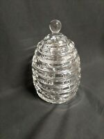 Vintage Beehive Cookie/Biscuits Jar Hvy. Fine Crystal / 3 Cut Glass Bees (Bin3)
