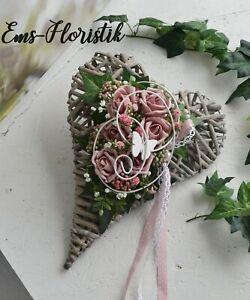 🌷 Grabgesteck Gedenktag Herz 25x30 Rosen rosa-natur