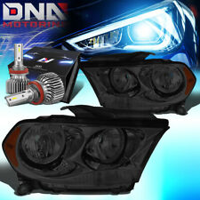FOR 2011-2013 DODGE DURANGO SIDE SIGNAL HEADLIGHT LAMPS W/LED SLIM STYLE SMOKED