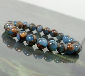 Blue Nepal Stone 8mm Natural Gemstone Bracelet Unisex Women Men Beaded Bracelet