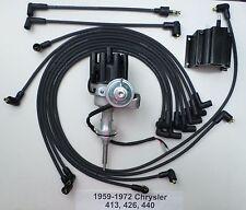 CHRYSLER 440 1959-72 BLACK Small Female Cap HEI Distributor,Coil,Spark Plug Wire