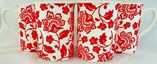 Florence Mugs Set of 4 Red Florence Fine Bone China Mugs Hand Decorated in UK