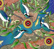 KINGFISHER CAMP by Aboriginal Artist Nambooka - E-Cotton Fabric- per FQ 1/4 yard